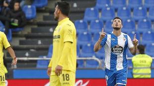 Borja Valle celebrando su gol ante el Villarreal.