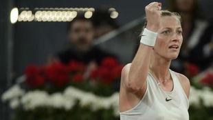 Petra Kvitova celebra un punto durante la final ante Kiki Bertens.