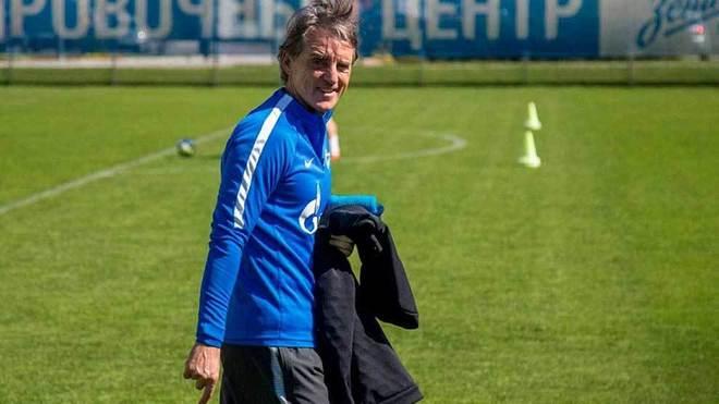 Mancini, en un entrenamiento con el Zenit.