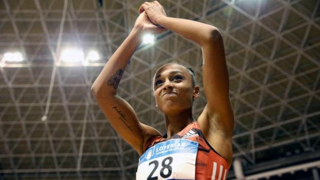 Ana Peleteiro tras proclamarse campeona de España en triple salto en...