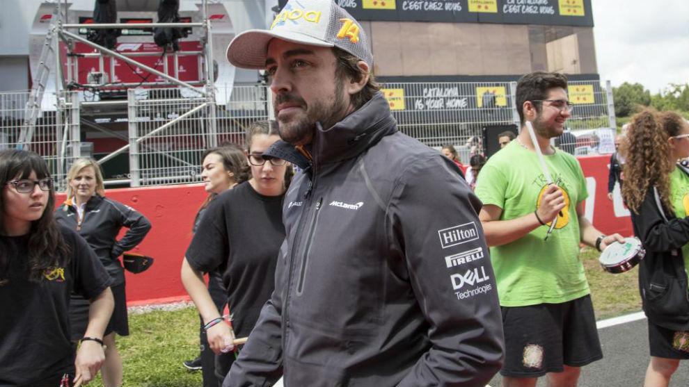 Fernando Alonso, antes de la carrera.