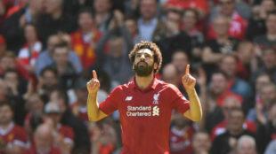 Salah celebra su gol al Brighton.