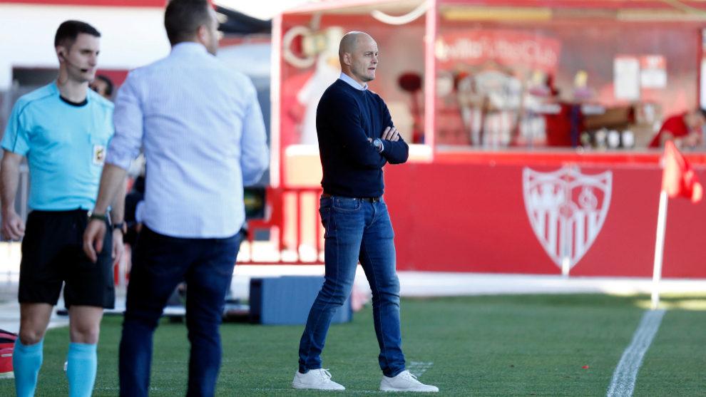 Nano Rivas, durante el partido de este domingo en el Viejo Nervión