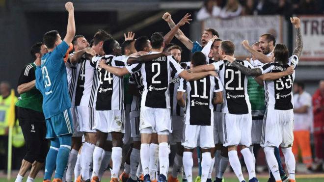 Los jugadores de la Juventus celebra el 'Scudetto'.