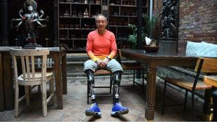 El escalador Xia Boyu, durante una entrevista