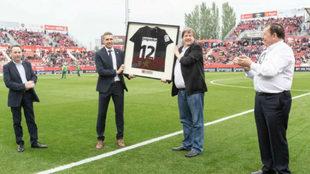 Delfi Geli, presidente del Girona FC y Pepe Sierra, presidente de la...