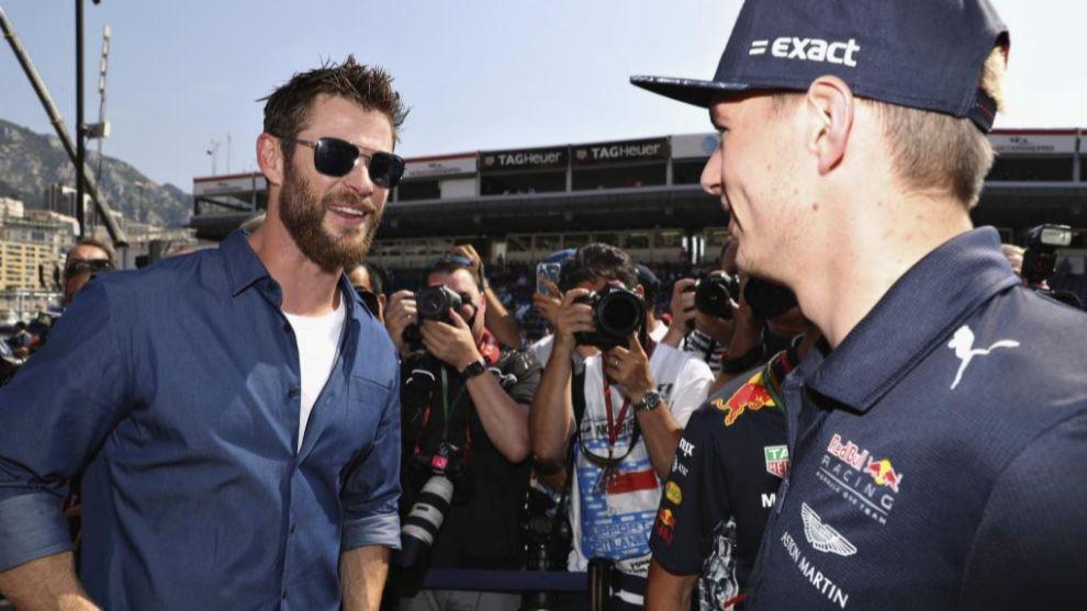 Chris Hemsworth con Max Verstappen en el pasado Gran Premio de Mónaco