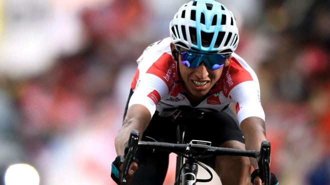 El colombiano Egan Bernal, durante una etapa.