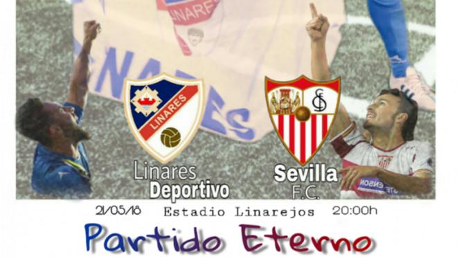 Cartel del partido entre Linares y Sevilla.