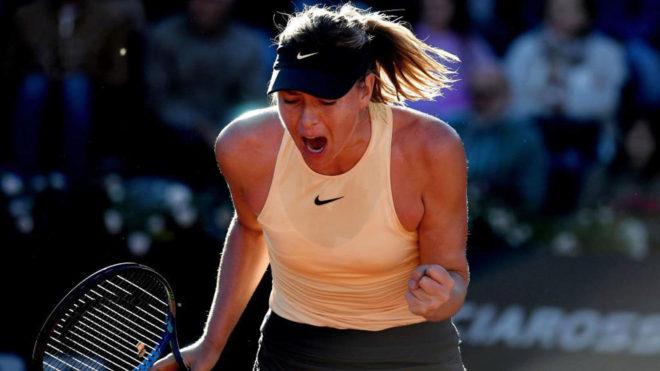 Marçia Sharapova celebra su victoria ante Barty en Roma