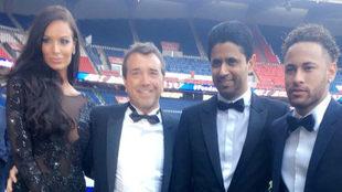 Neymar y Al-Khelaifi, en la cena benéfica del PSG.
