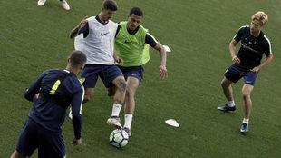 Álex Robles y Alejandro Meléndez, en un entrenamiento.