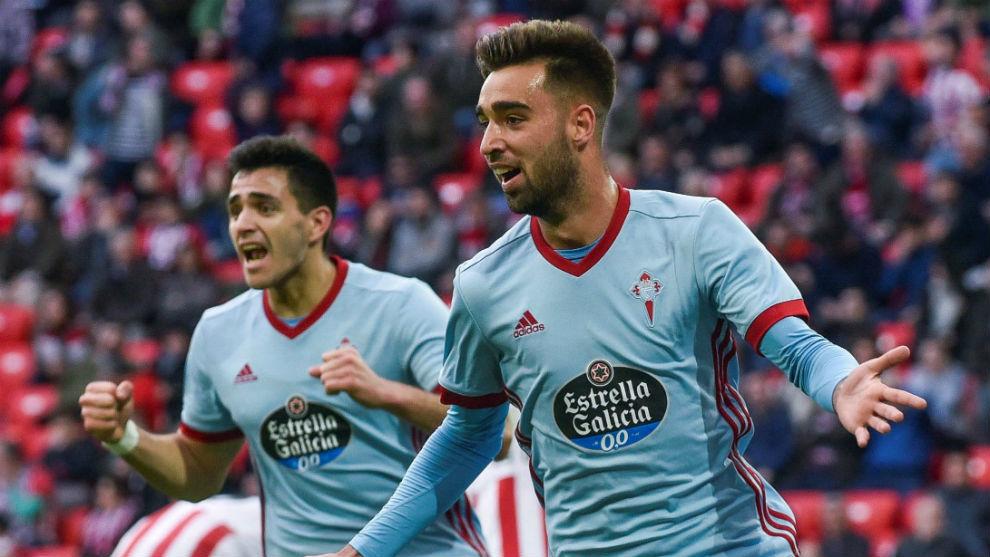 Brais Méndez celebrando un gol con el Celta
