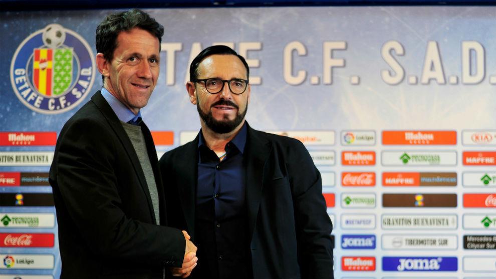 Ramón Planes y José Bordalás, durante la rueda de prensa ofrecida...