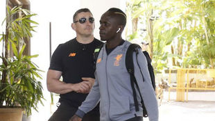 Sadio Mané, a su llegada al hotel de Marbella