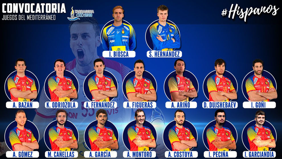 El cartel con los 16 'Hispanos' convocados para los Juegos...
