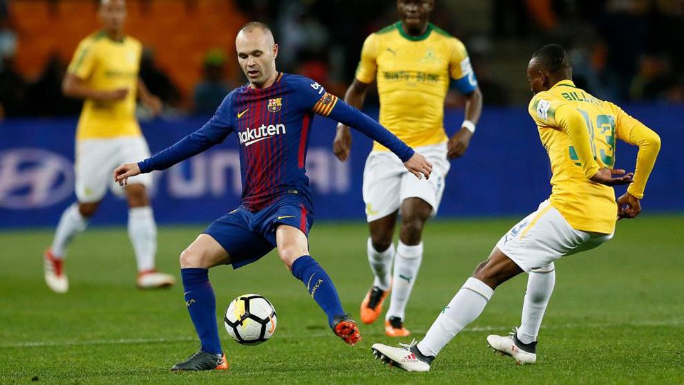 b2ebbf962 Friendly - Mamelodi Sundowns 1-3 BarcelonaSuarez also nets in South Africa