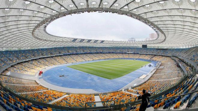 El estadio Olímpico de Kiev, sede de la final de la Champions