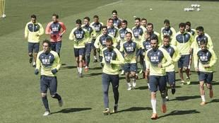 La actual plantilla del Granada en un entrenamiento reciente