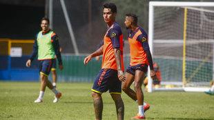 Sergio Araujo durante un entrenamiento con la UD Las Palmas