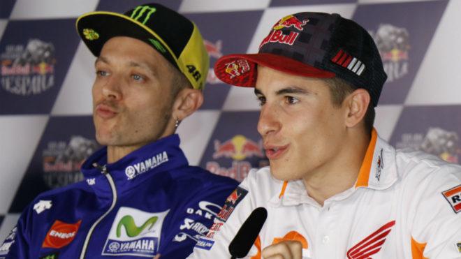 Márquez y Valentino Rossi en rueda de prensa del GP Francia MotoGP
