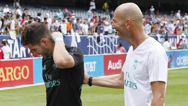 Luca Zidane y Zinedine, en pretemporada.