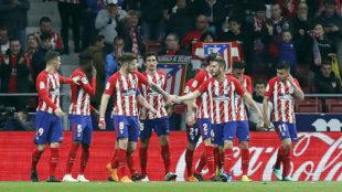 El Atlético celebra un gol en LaLiga.