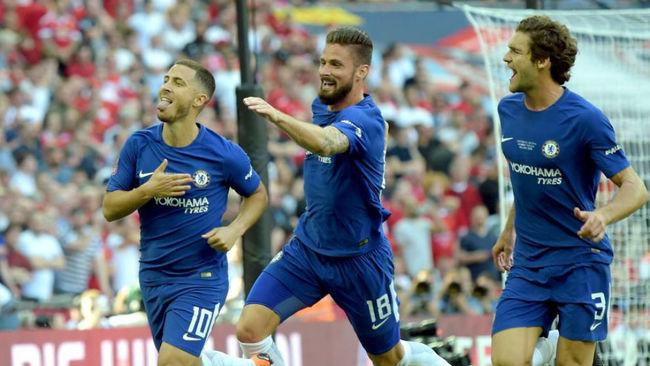 Hazard celebra el gol de la victoria