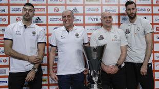Sloukas, Obradovic, Laso y Rudy durante la rueda de prensa previa a la...