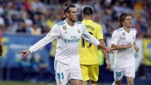 Gareth Bale celebra su gol al Villarreal.