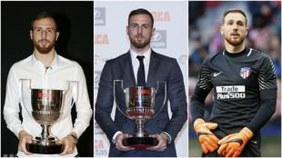 Oblak con el Zamora de 2016, con el de 2017 y en una imagen de esta...