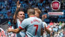 Iago Aspas celebra uno de sus goles con Maxi Gómez y Wass.