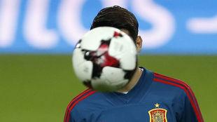 Morata, en un entrenamiento con la selección española