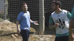 Rubi, durante un entrenamiento reciente del Huesca