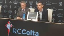 Unzué, junto a Carlos Mouriño, en la rueda de prensa de despedida.
