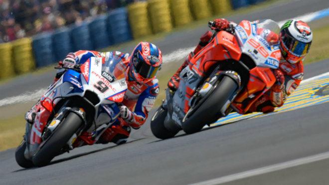 Lorenzo y Petrucci, en Le Mans.