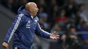 Sampaoli en el último partido de Argentina contra España