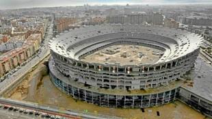 Aspecto de las obras del nuevo estadio desde que se paralizaron.