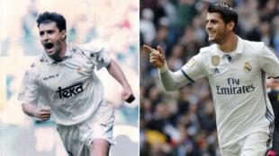 Míchel y Morata, en sus épocas como jugadores del Madrid
