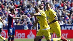 David García celebra un gol.