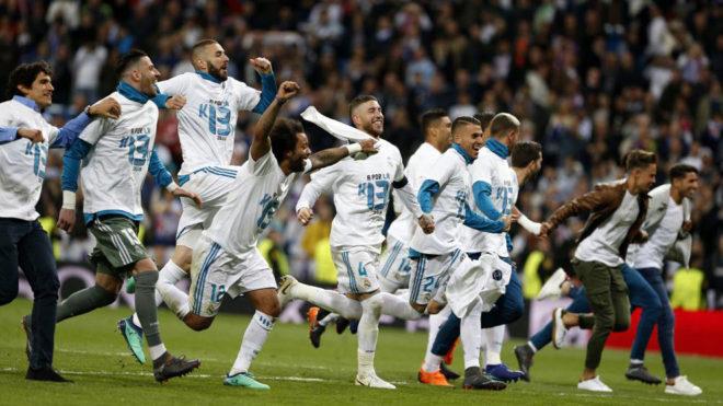 Los juegadores del Real Madrid celebran el pase a la final de Kiev