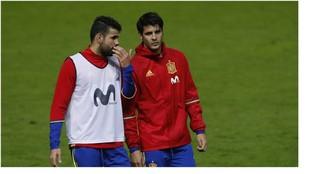 Diego Costa y Morata, durante un entrenamiento de la selección