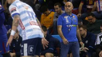 Juan Carlos Pastor, durante un partido de la Liga de Campeones esta...