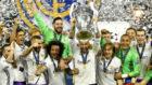 El Madrid celebra la Champions ganada en Cardiff.