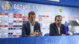 Ramón Planes y Ángel Torres, en la sala de prensa del Coliseum.