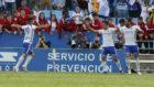 Los jugadores celebran el gol de Zapater al Albacete.