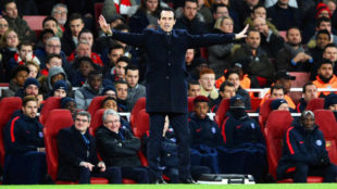 Emery, durante un partido en el Emirates.