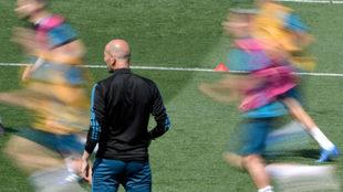 Zidane, en la sesión de entrenamiento de Valdebebas del pasado...