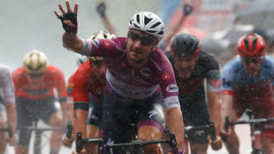 Elia VIviani celebrando su cuarto triunfo de etapa en este Giro.