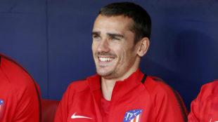 Griezmann sonríe en el Wanda Metropolitano.